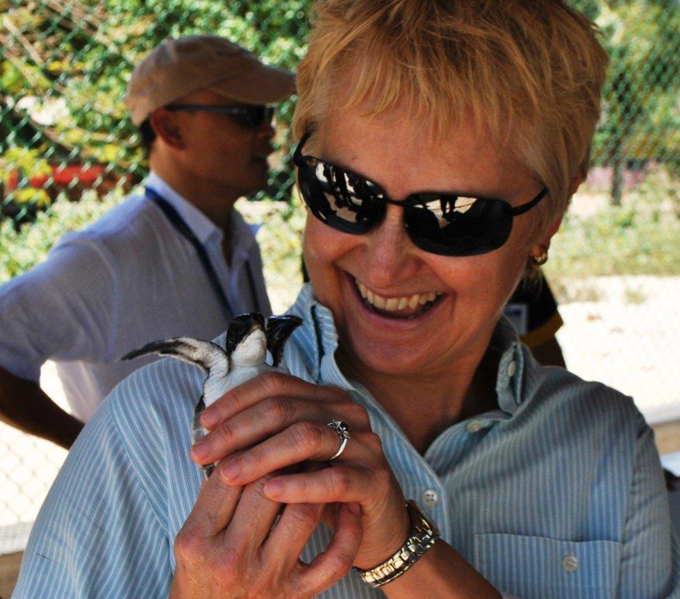 Elaine Dorward King with baby sea turtle