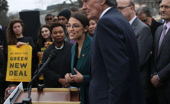 Democratic Lawmakers Rep. Alexandria Ocasio-Cortez And Sen. Ed Markey Unveil Their Green New Deal Resolution