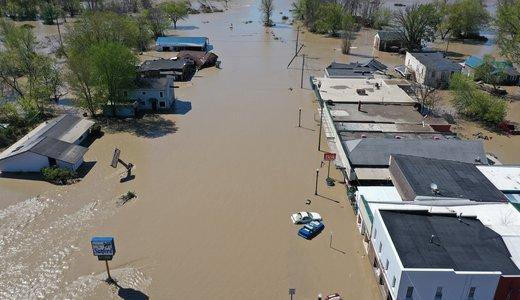 Sanford, Michigan, Main Street flooded by dam breach
