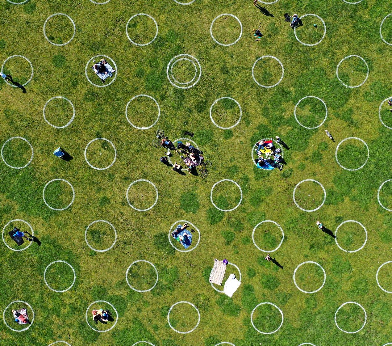 socially distant circles Dolores Park SF