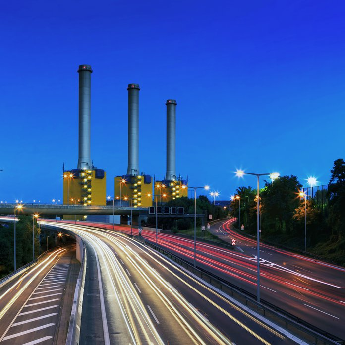 Power station near the highway in Berlin at rush hour (Berlin, Germany)