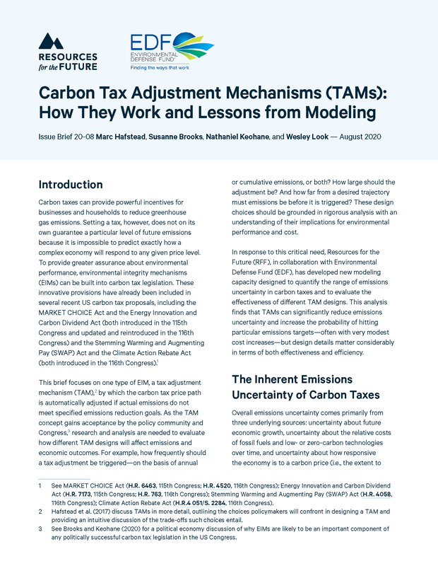 Carbon Tax Adjustment Mechanisms (TAMs): How They Work and Lessons from Modeling