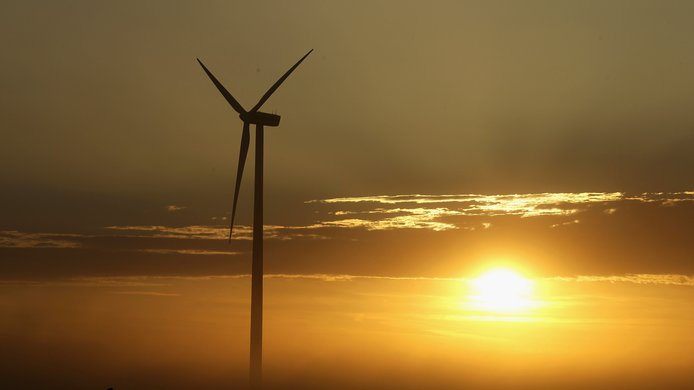 Wind turbine sunrise