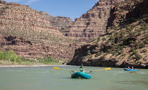 BLM employees survey the Green River in Utah's Desolation Canyon Area