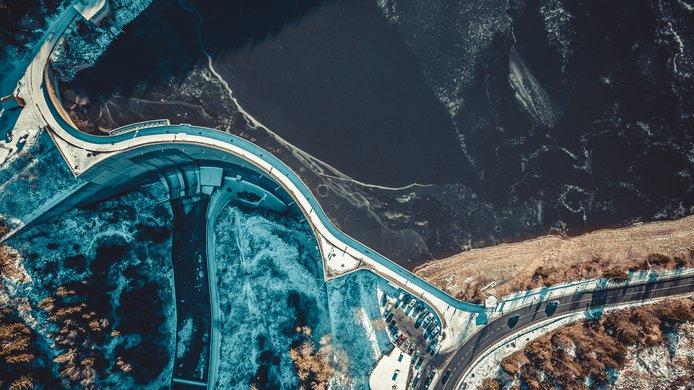 aerial dam water road