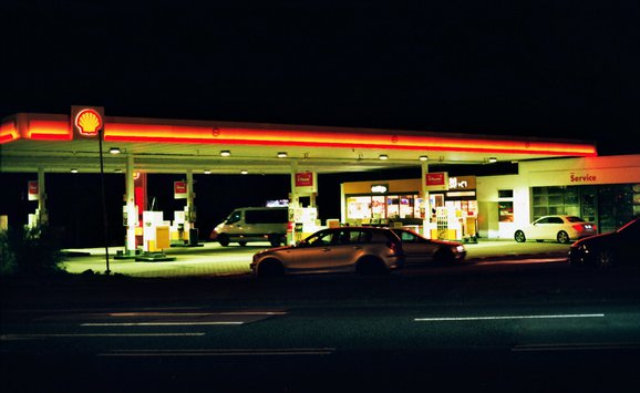 Gas station night