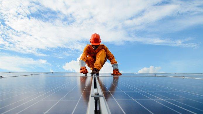 Solar panels worker