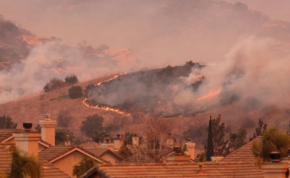 Anaheim fire and smoke