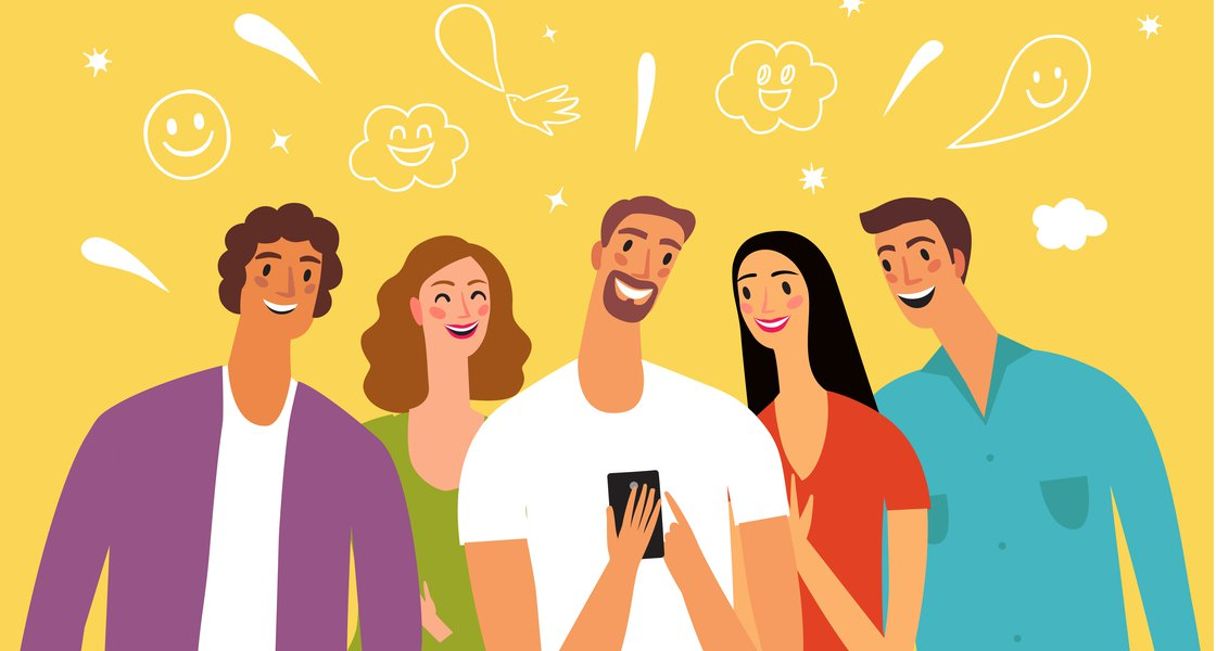 People laughing illustration