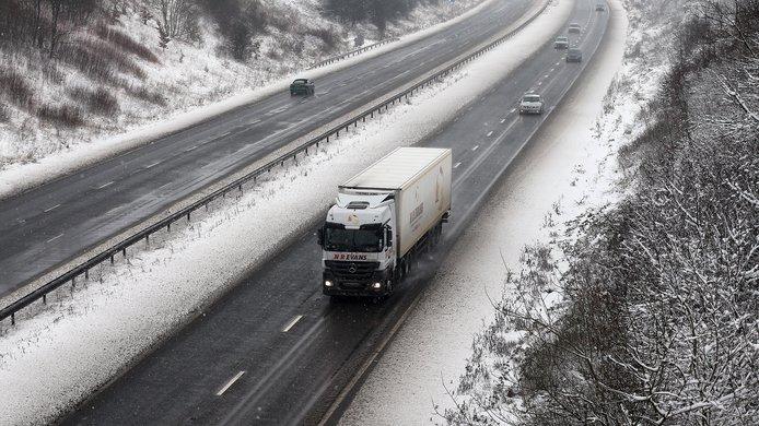 truck snowy road